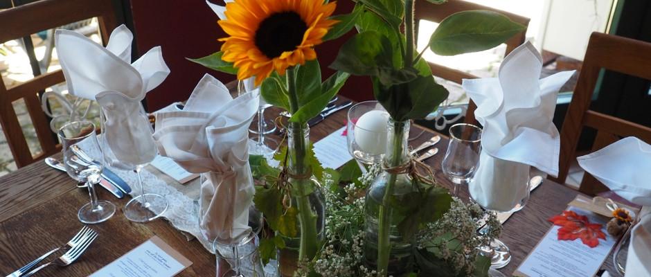Deko mit Sonnenblumen