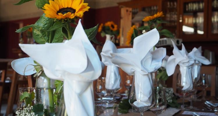 Tischdeko mit Sonnenblume