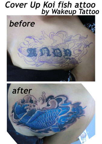 Cover up Koi fish Tattoo by Wake up Tattoo