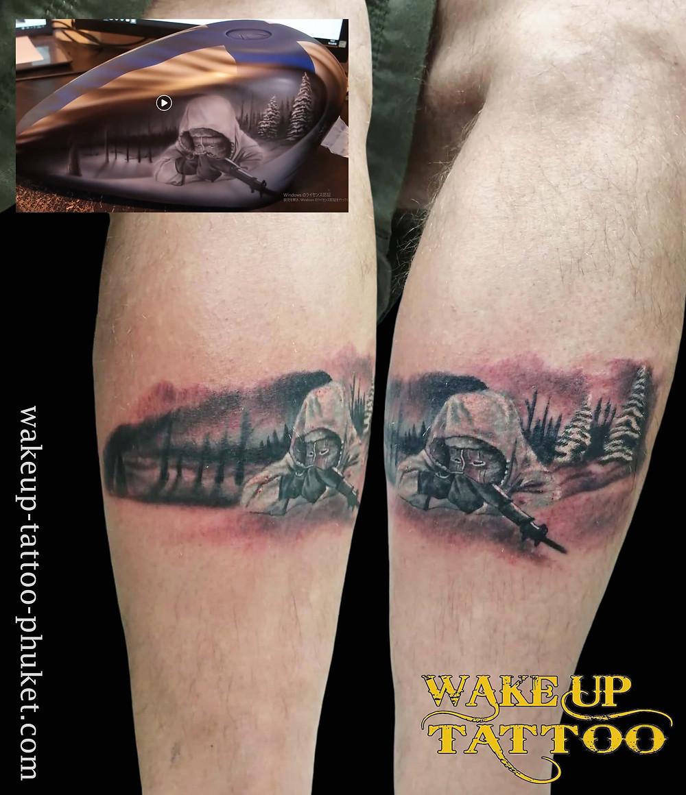 Realistic leg tattoo by Wake up Tattoo Phuket