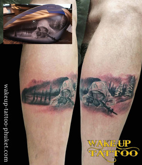 Realistic leg tattoo by Wake up Tattoo Phuket