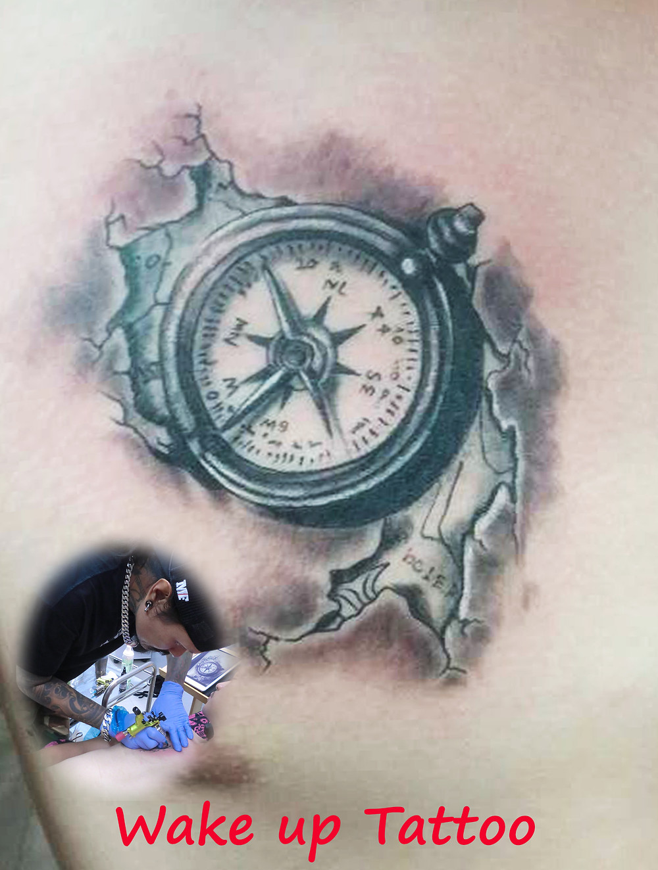 compass tattoo by Wake up Tattoo Phuket