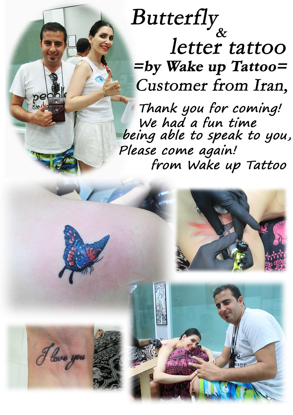 Butterfly & Letter Tattoo by Wake up Tattoo Phuket