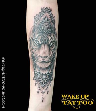 Tiger and mandala Tattoo by Wake up Tattoo Phuket