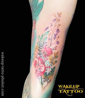 Flowers tattoo by Wake up Tattoo Phuket