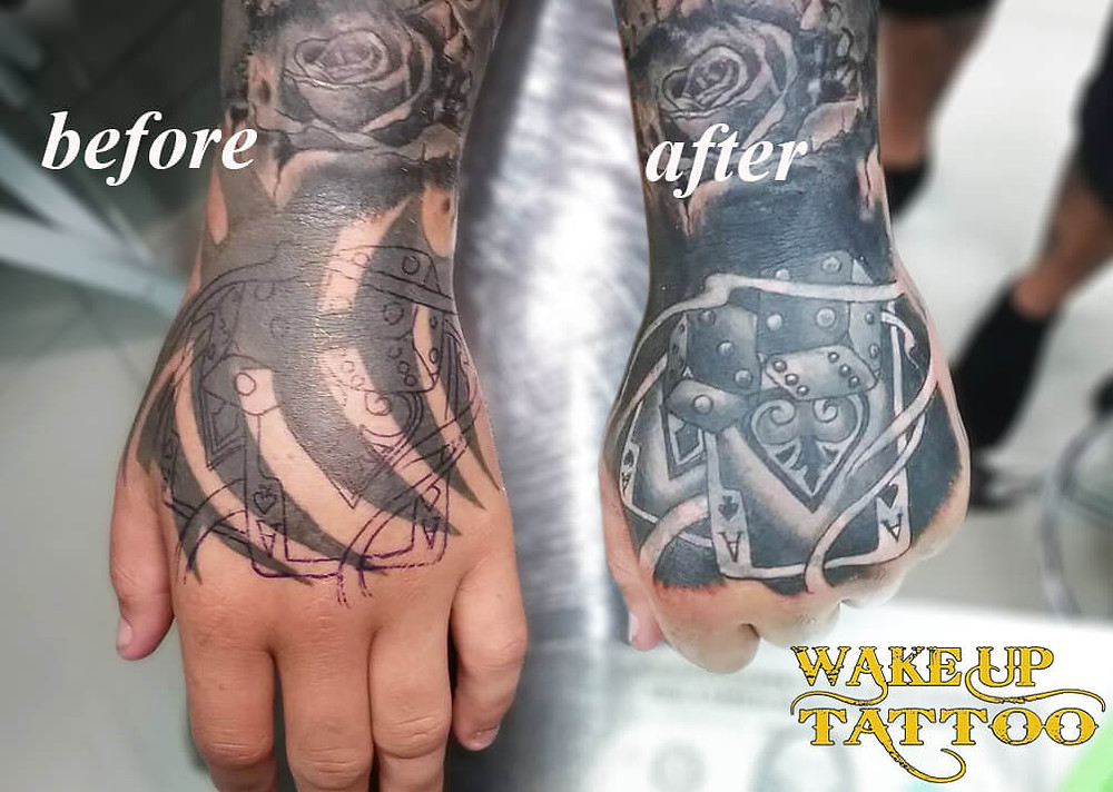 Hand cover up Tattoo by Wake up Tattoo Phuket