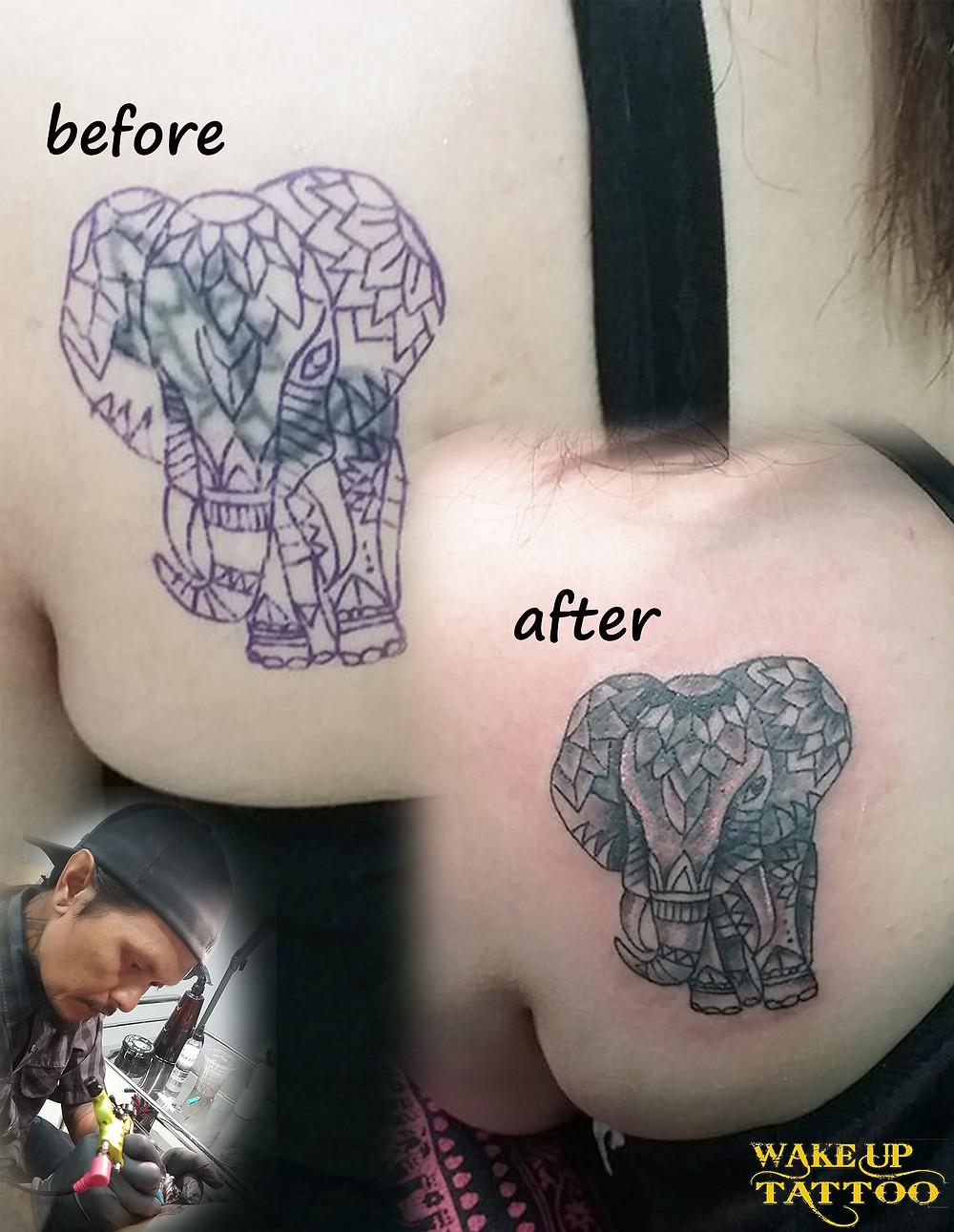 Cover up Tattoo by Wake up Tattoo Phuket at Patong Beach Thailand
