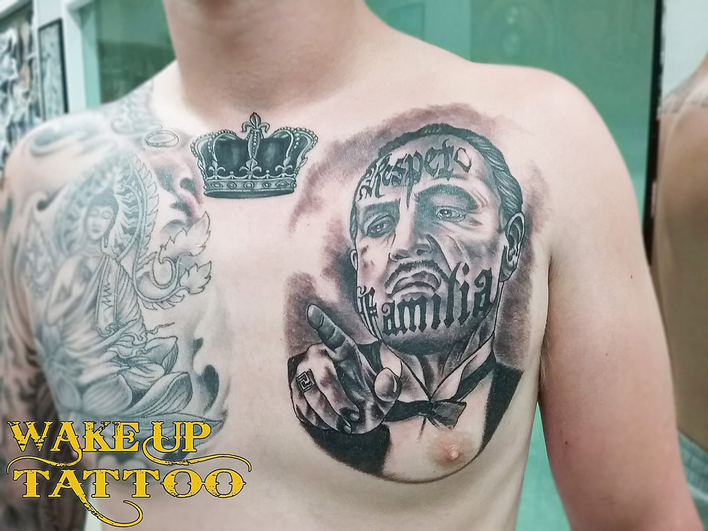 Black and Grey tattoo design by Wake up Tattoo Phuket