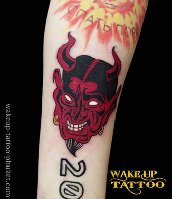 Hannya Red Face Tattoo by Wake up Tattoo Phuket