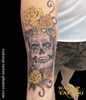 Day of the Dead skull with Rose by Wake up Tattoo Phuket