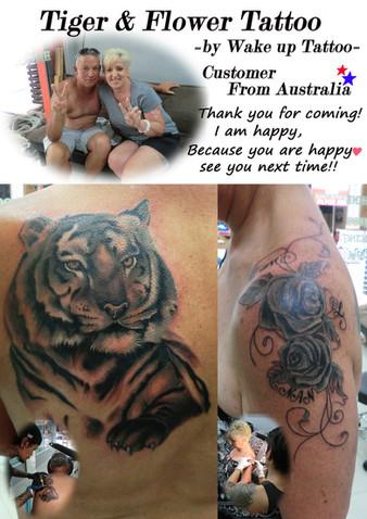 Tiger & Flower Tattoo by Wake up Tattoo Phuket
