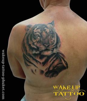 Tiger Face Tattoo by Wake up Tattoo Phuket