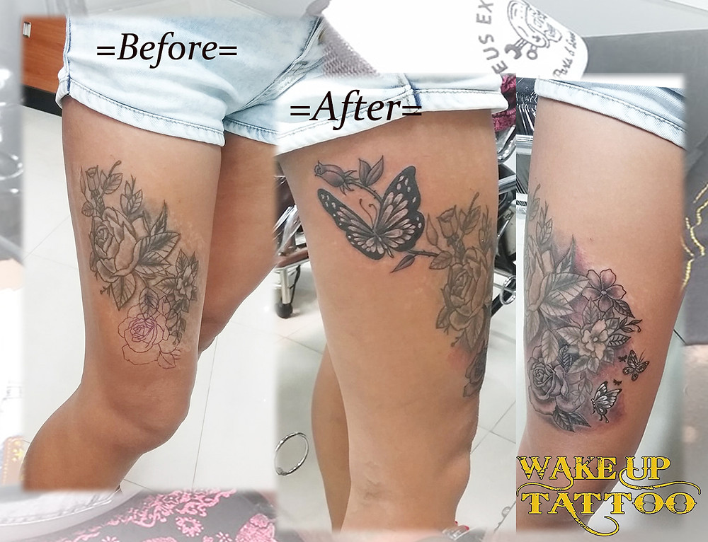 Re-Work Add-on to an old Tattoo by Wake up Tattoo Phuket at Patong Beach Phuket