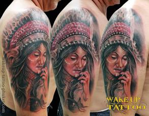 Indian Woman Tattoo by Wake up Tattoo Phuket