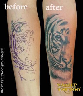 Cover up arm tattoo by Wake up tattoo Phuket