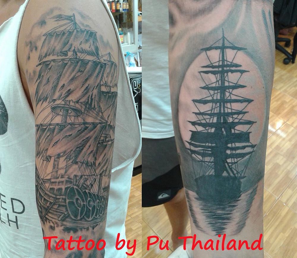 ship tattoo by Pu Thailand