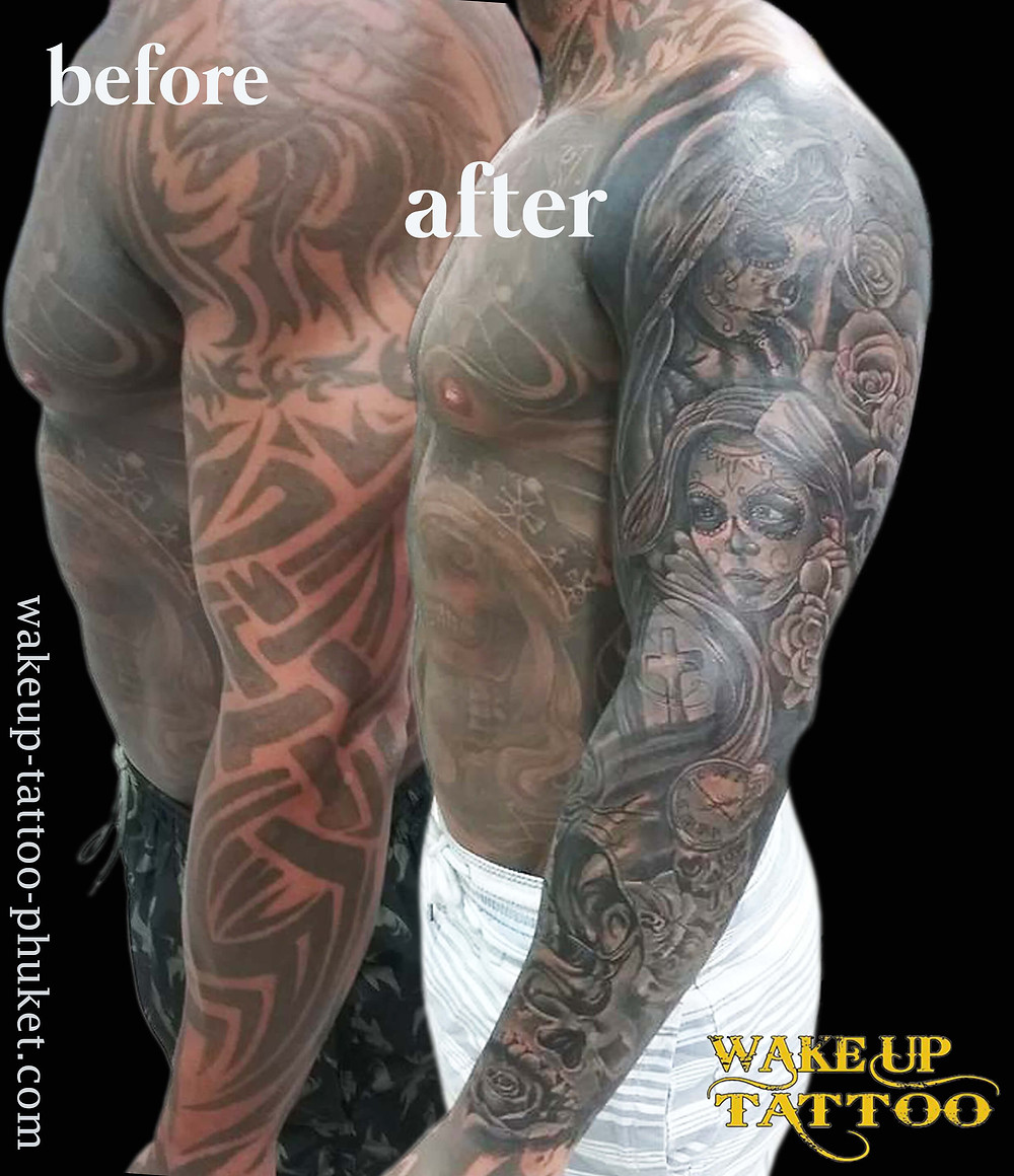 Big cover up sleeve tattoo by Wake up Tattoo Phuket
