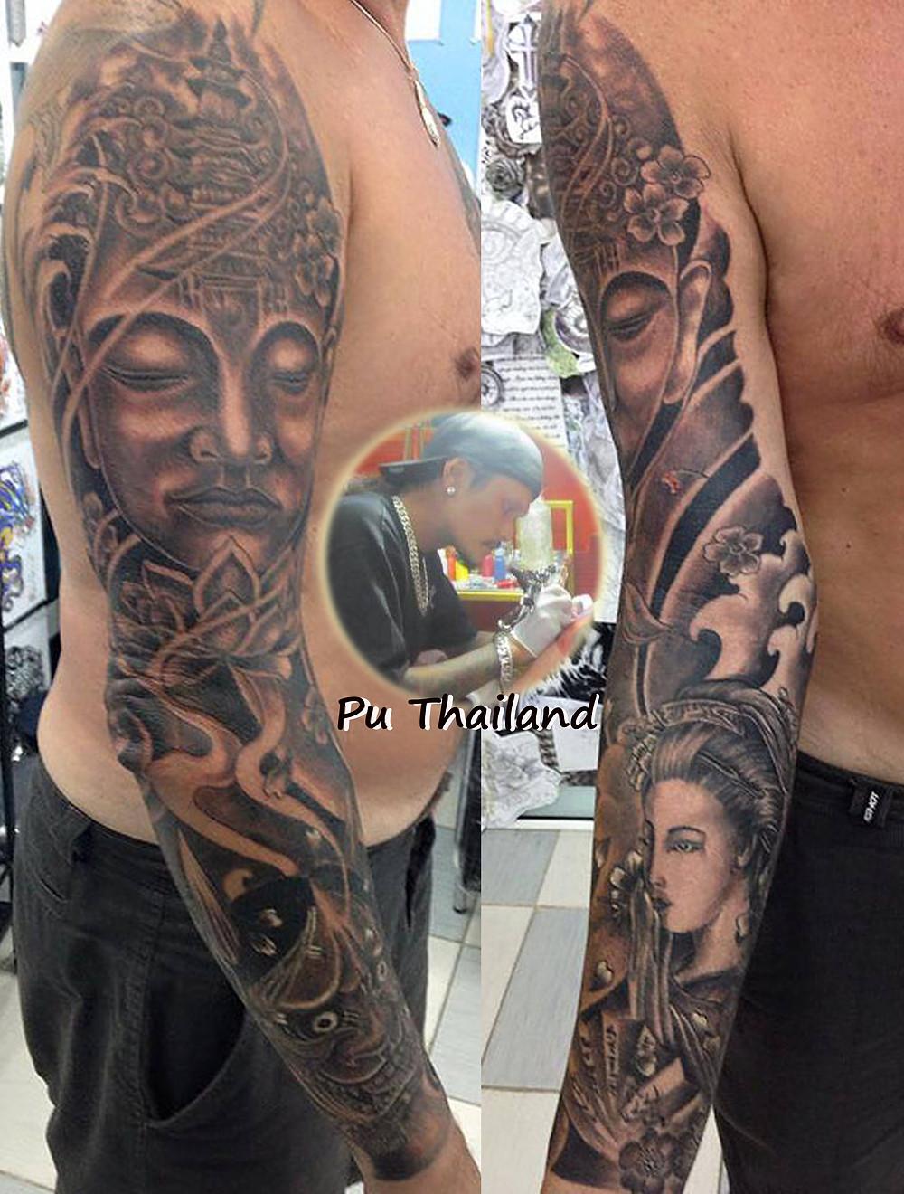 Japanese sleeve tattoo by Pu Thailand