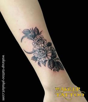 Simple Flower Tattoo by Wake up Tattoo Phuket