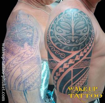 Maori Cover up Tattoo by Wake up Tattoo Phuket
