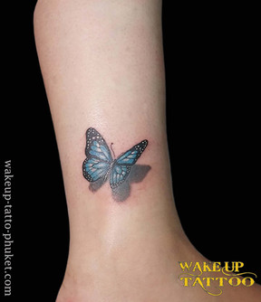 3D Butterfly color tattoo by Wake up Tattoo Phuket