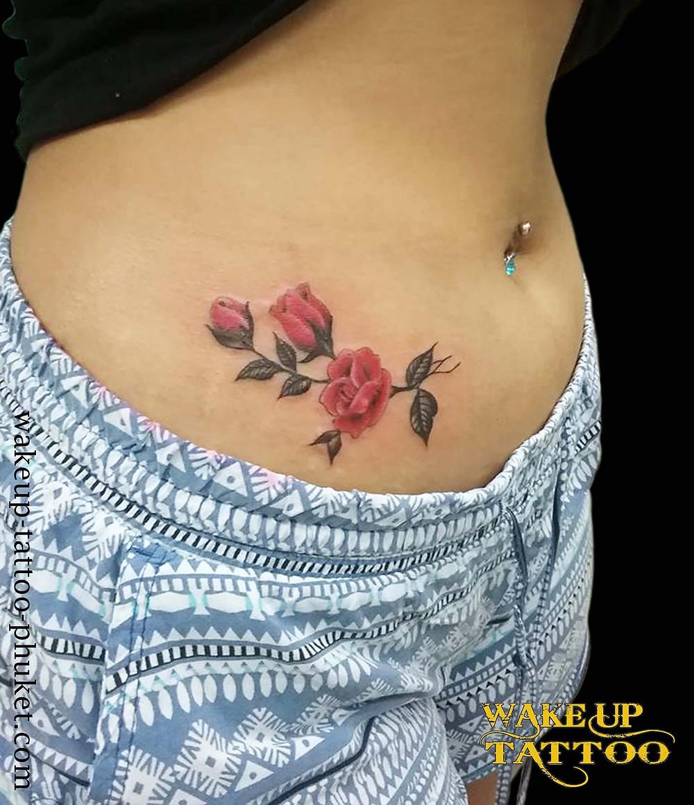 Red Rose Tattoo by Wake up Tattoo Phuket