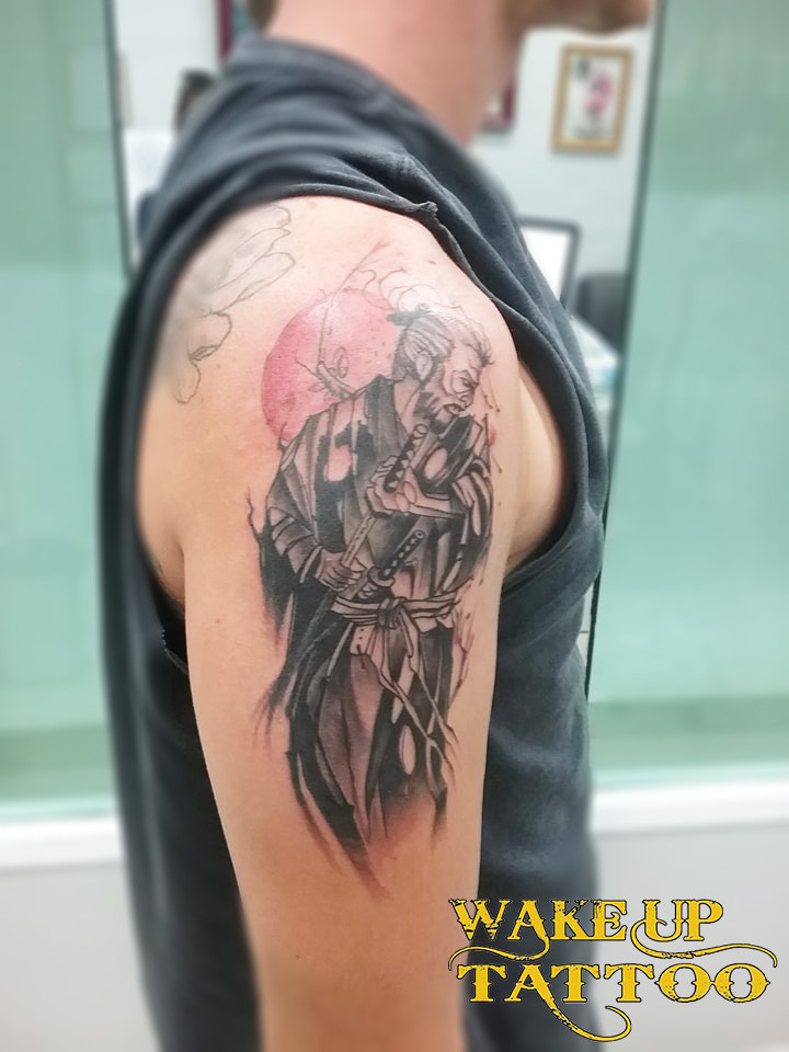 Samurai tattoo by Wake up tattoo at Patong Beach Phuket Thailand