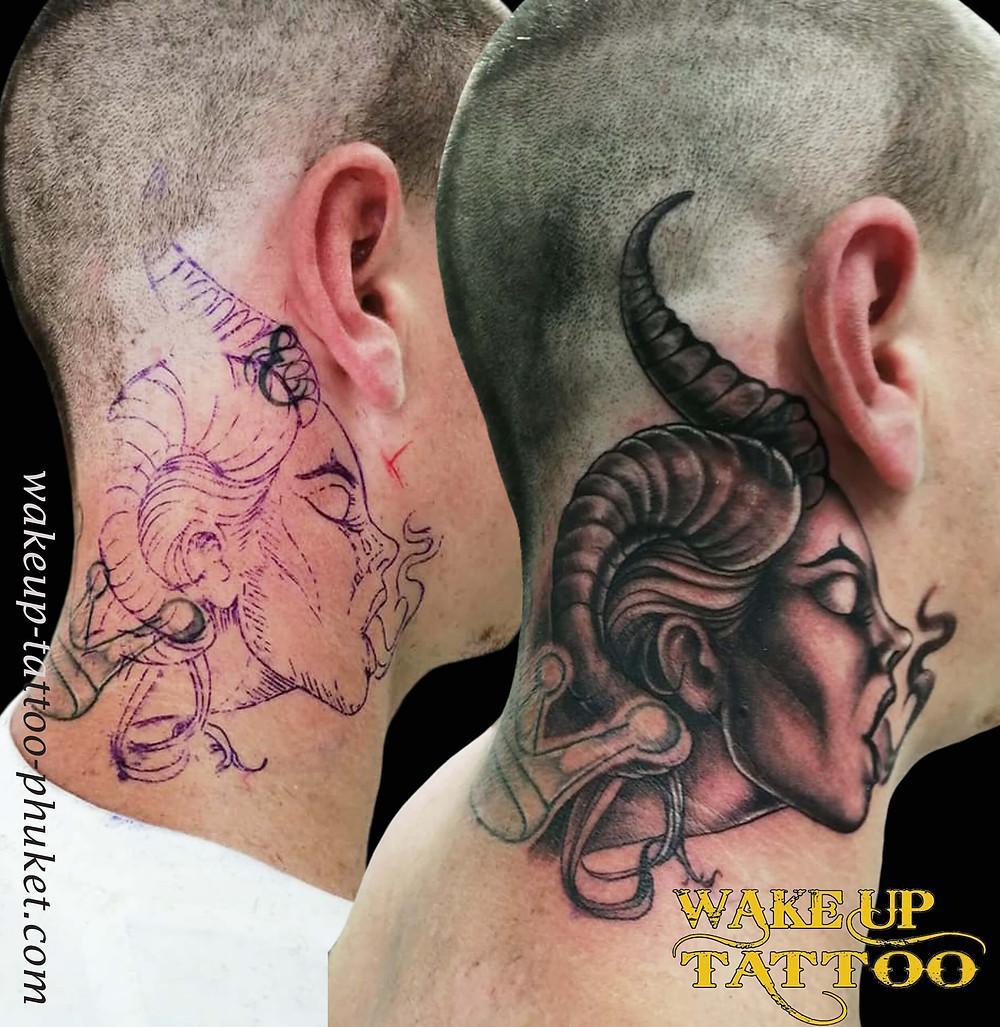 Cover up neck Tattoo by Wake up Tattoo Phuket