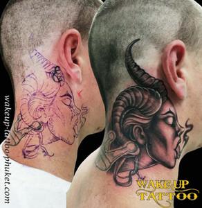 Neck tattoo for Men by Wake up Tattoo Phuket