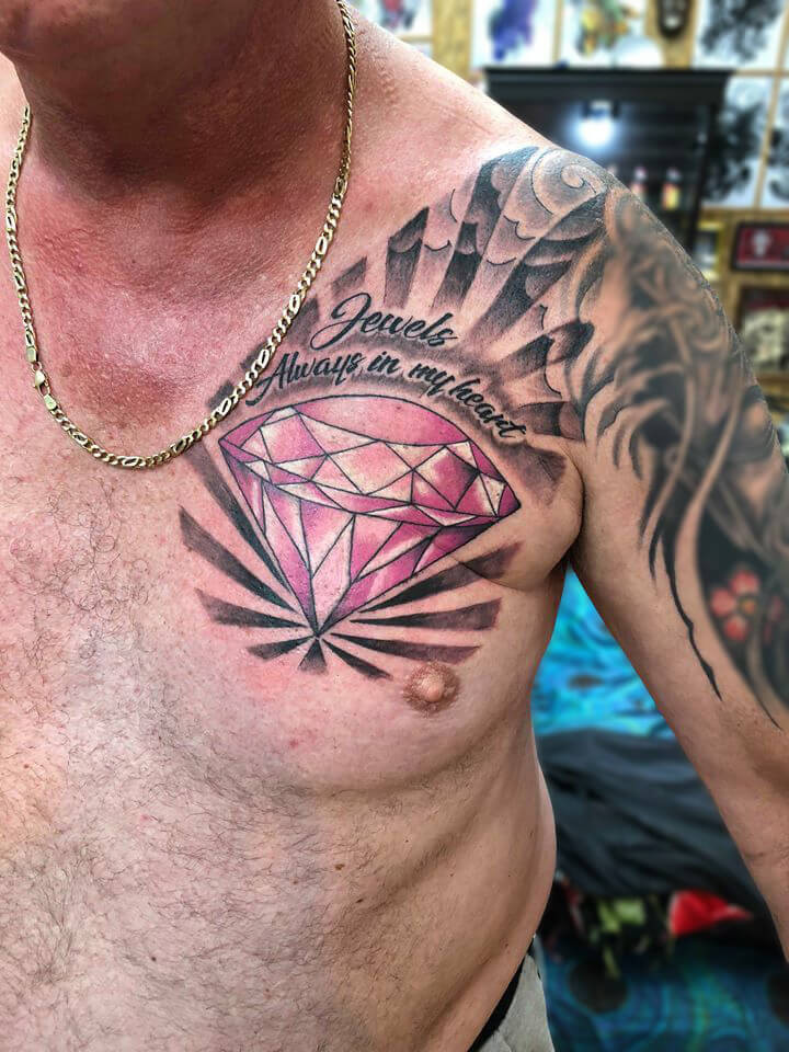 Diamond Tattoo on chest by Wake up tattoo Phuket