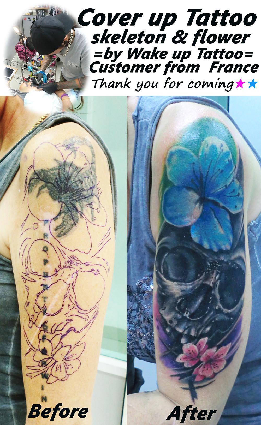 Cover up Tattoo (skeleton & flower) by Wake up Tattoo Phuket