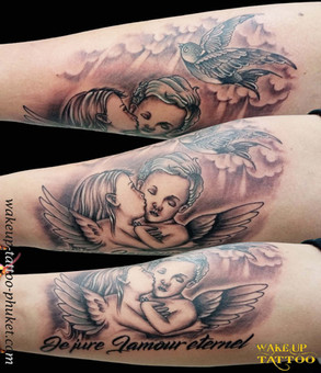 Angel tattoos with Bird tattoo by Wake up Tattoo Phuket