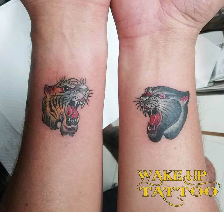 Old school big cats tattoo by wake up tattoo Phuket in Patong