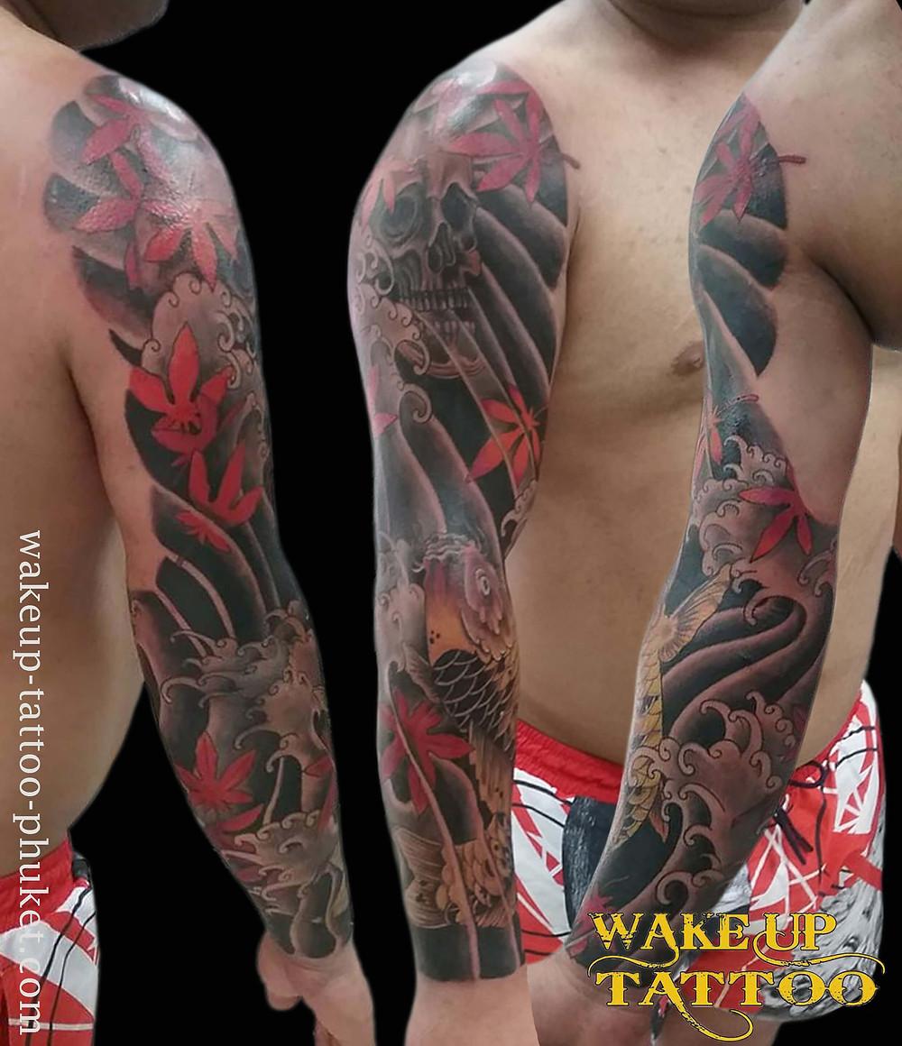 Japanese Koi fish and skull Tattoo sleeve by Wake up Tattoo Phuket