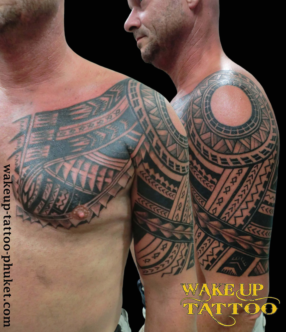 Maori sleeve tattoo by Wake up tattoo Phuket