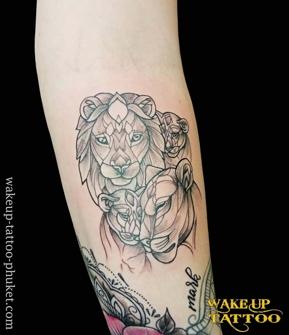 Lion Family tattoo by Wake up Tattoo Phuket