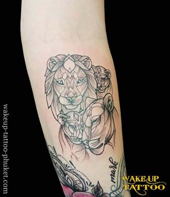 Lion Family tattoo by Wake up Tattoo Phuket