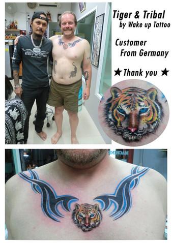 Tiger & Tribal Tattoo by Wake up Tattoo