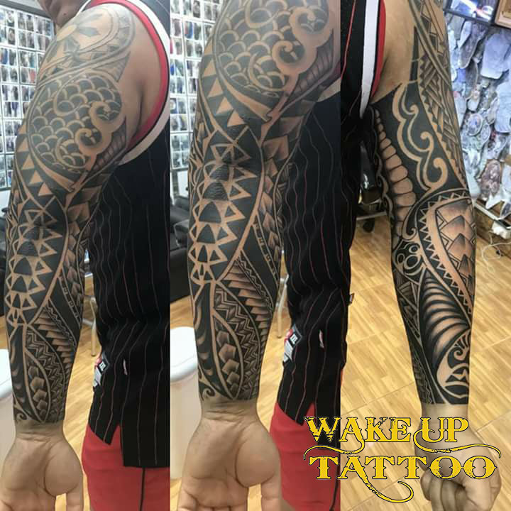 Polynesian sleeve tattoo b Wake up Tattoo Phuket