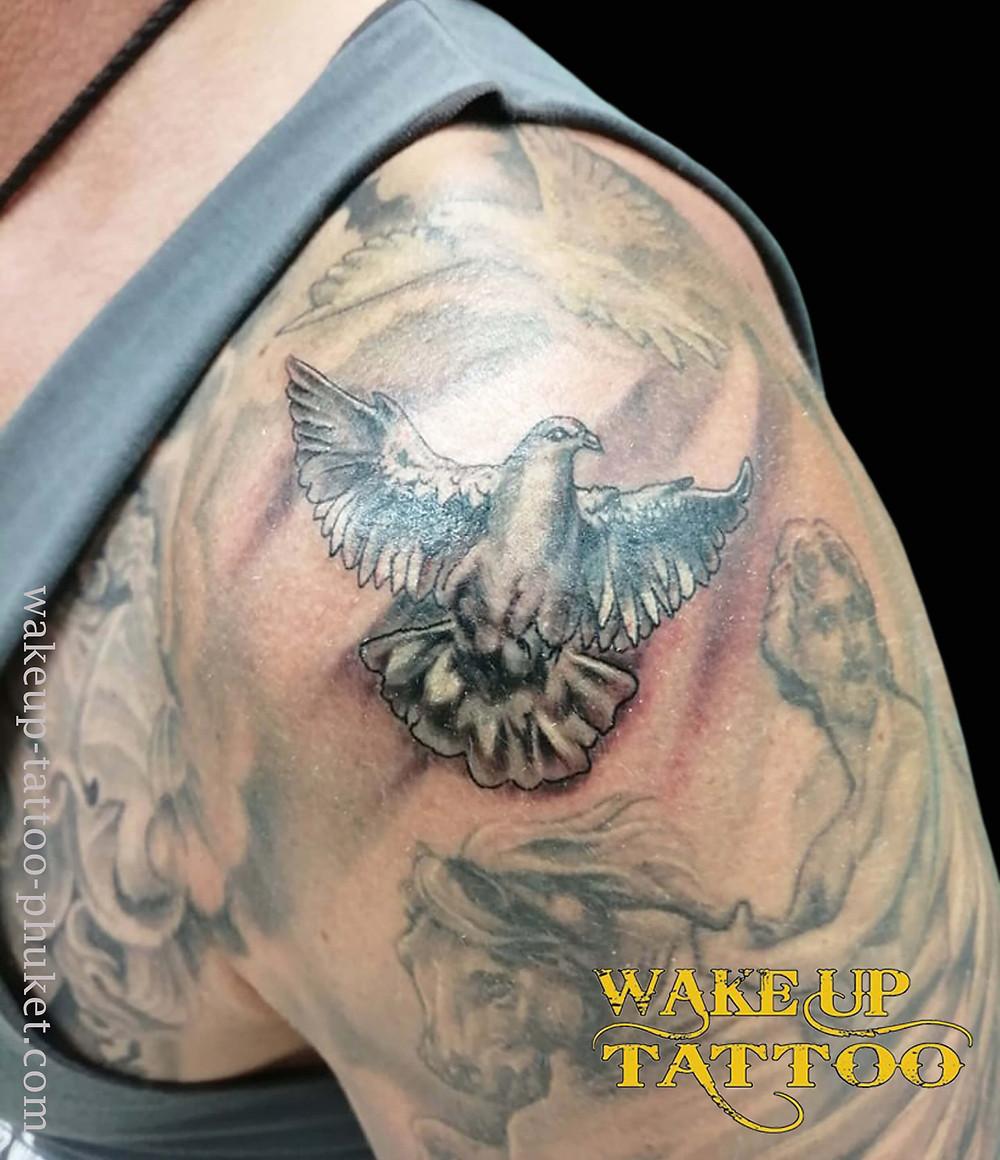 Pigeon Tattoo by Wake up Tattoo Phuket