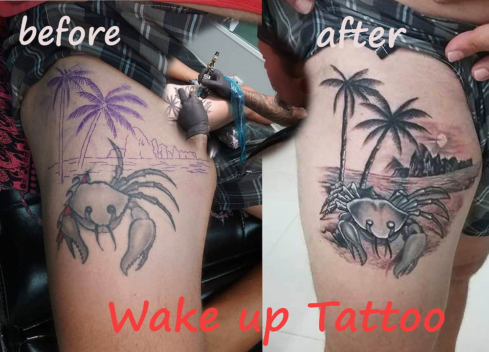 cover up Tattoo by Wake up Tattoo Phuket at Patong Beach Thailand