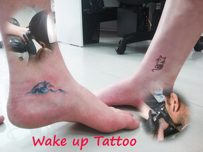 Wave and Cat tattoo by Wake up Tattoo Phuket