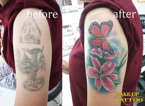 Cover up Flower & Butterfly Tattoo by Wake up Tattoo Phuket