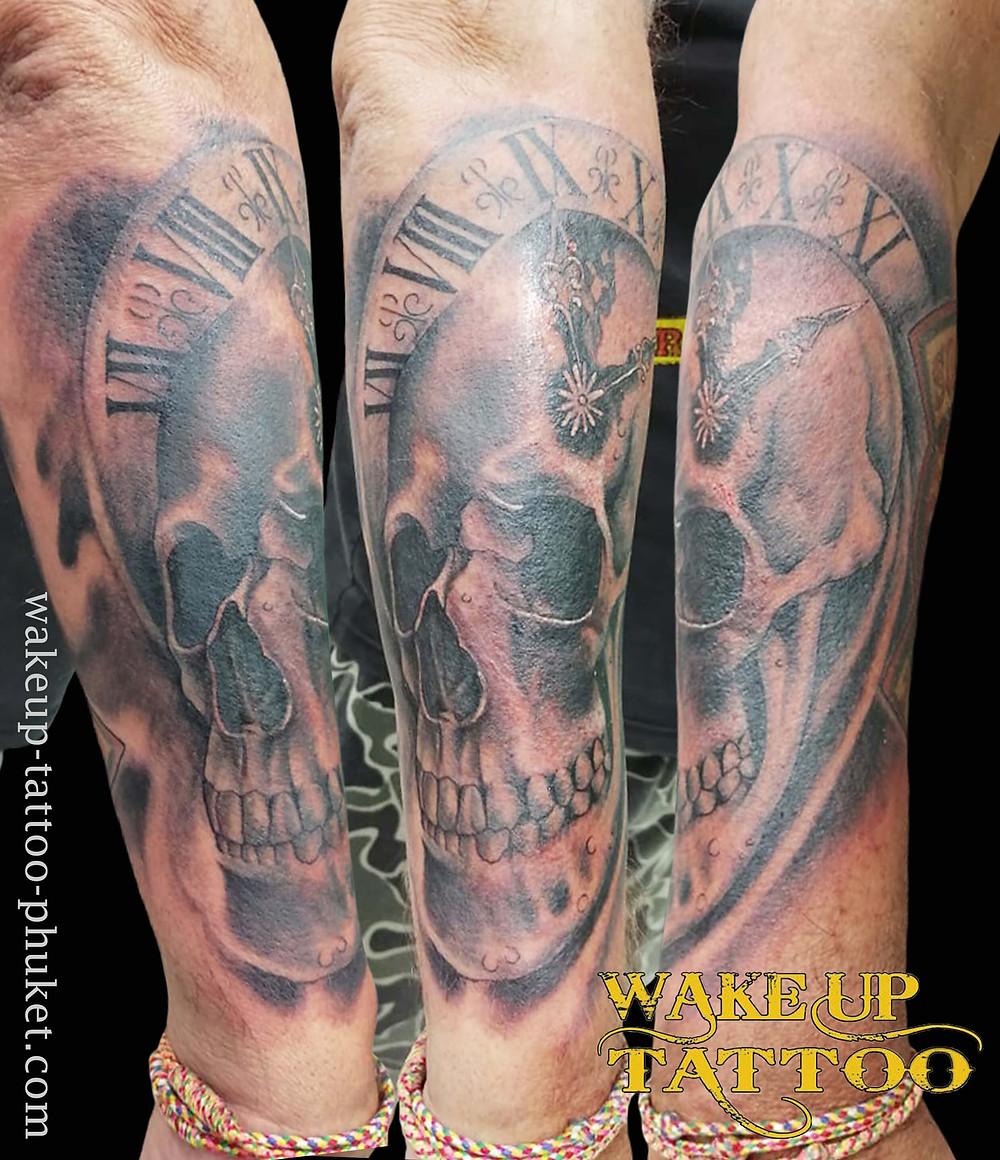 Skull Tattoo on the arm at Wake up Tattoo Phuket
