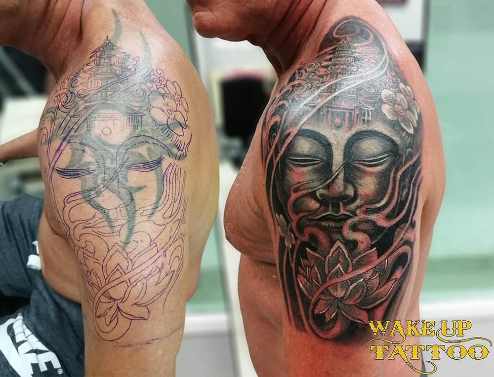 Cover up Japanese tattoo by Wake up Tattoo Phuket