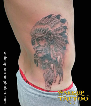 Indian style with horse tattoo by Wake up Tattoo Phuket