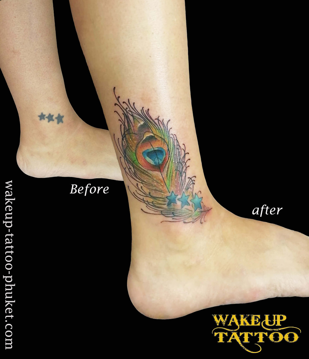 Peacock feather tattoo by Wake up Tattoo Phuket