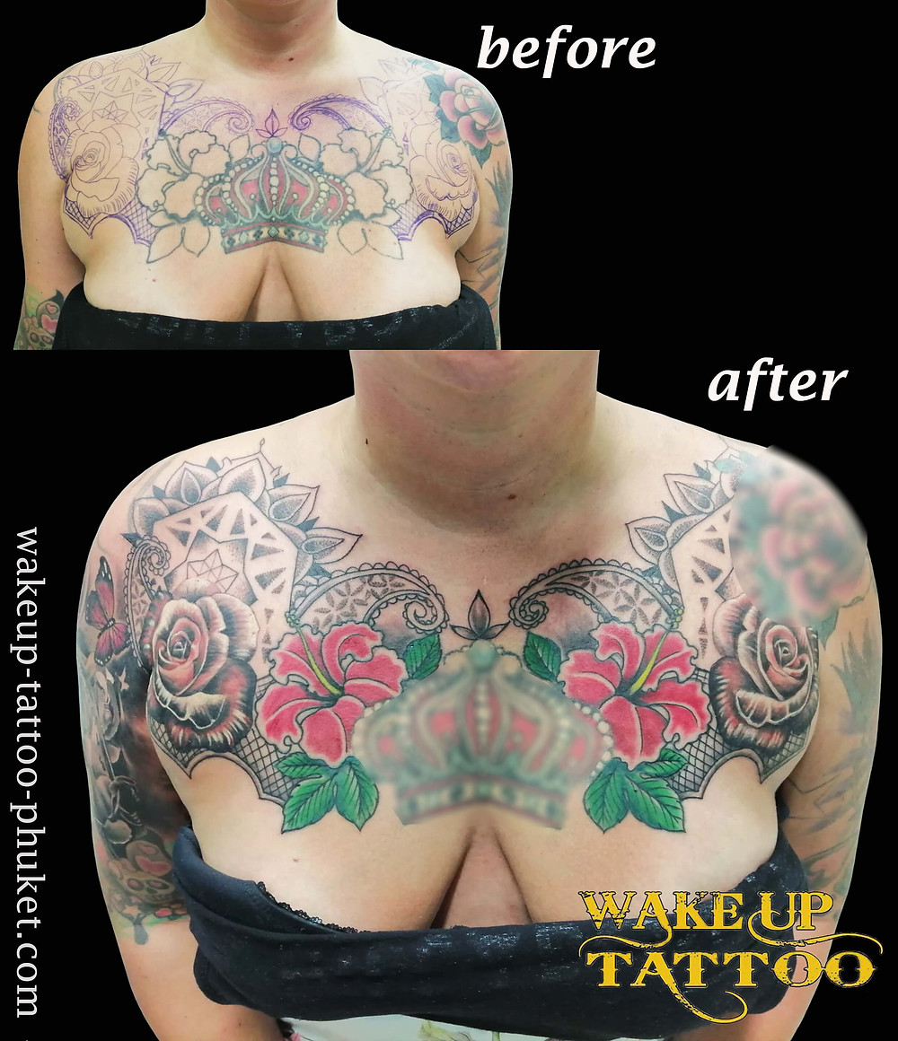Cover Up Chest Sife Tattoo by Wake up Tattoo Phuket