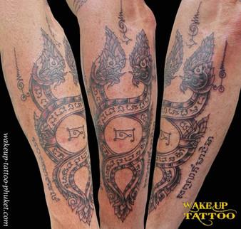 Thai Dragon Sak Yant tattoo by Wake up Tattoo Phuket