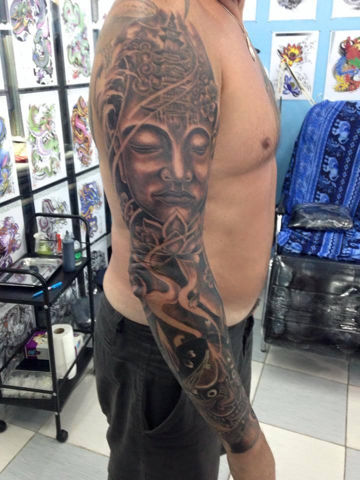 Japanese sleeve tattoo by Wake up Tattoo Phuket at Patong